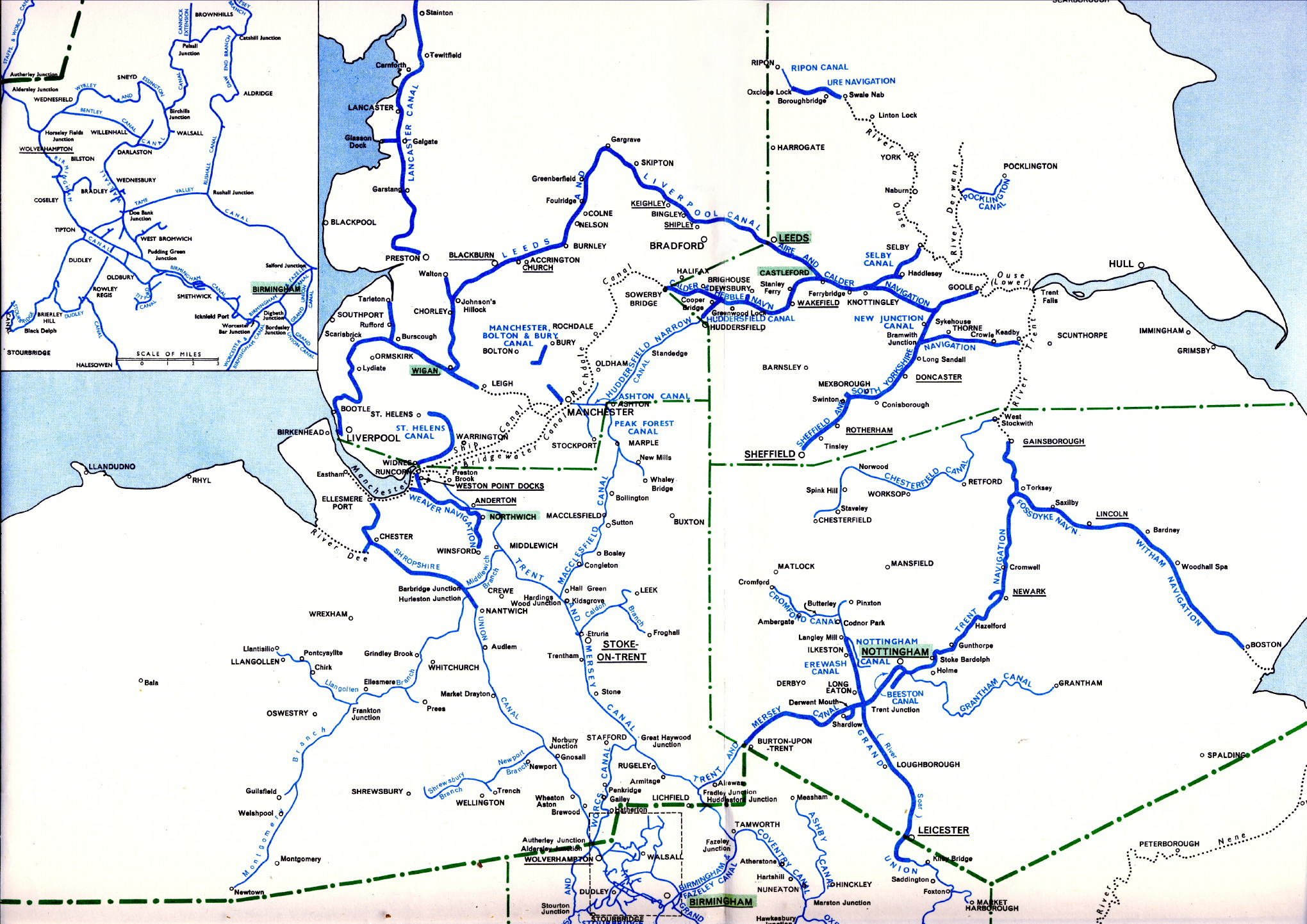 Map Of North England Uk.British Waterways System Map North